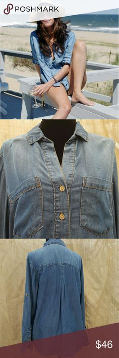 Cloth & Stone soft denim shirt Optional roll up sleeves with button. 3 buttons down front. Two pockets. 100% tencel Anthropologie Tops
