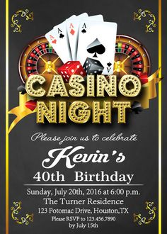Rare image with regard to free printable casino party invitations