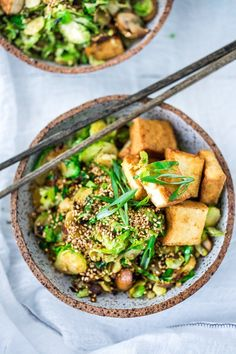Detoxing Sesame Brussel Sprouts and Tofu Bowl- with mushrooms, scallions and toasted sesame seeds. Vegan and Gluten-free.   www.feastingathome.com