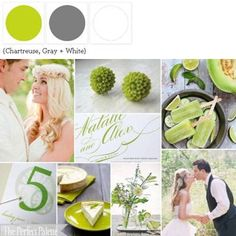 A Palette of Chartreuse, Gray + White! Featuring a refreshing Margarita Popsicle Recipe http://www.theperfectpalette.com/2011/08/honeydew-cucumber-margarita-popsicles.html
