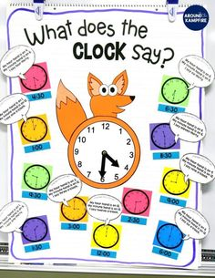These first and second grade telling time activities are ideal for high engagement practice of reading and writing time to the hour, half hour, quarter hour, and nearest 5 minutes. The anchor chart doubles as a game board for the lessons. The math/writing Telling Time Games, Telling Time Activities, Teaching Time, Teaching Ideas, Telling The Time, Activities For 1st Graders, Preschool Themes, Preschool Printables, Free Printables