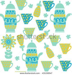 Cute tea seamless pattern with dishes. It is located  in swatch menu, vector illustration. Image  and texture for design in green and blue colors. Odd background - stock vector