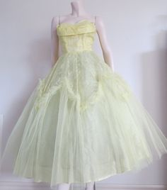 Stunning Yellow Vintage 50s Tulle Prom Dress by TheWordfromtheBird