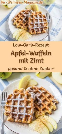 Low carb apple waffles with cinnamon - healthy, sweet waffle recipe - Apfel-Rezepte - Alles mit Äpfeln - Healty Dessert Dessert Oreo, Dessert Recipes, Desserts, Lunch Recipes, Smoothie Recipes, Cookie Recipes, Dinner Recipes, Law Carb, Healthy Waffles