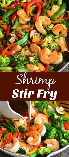 Shrimp Stir Fry Healthy, Shrimp Vegetable Stir Fry, Asparagus Stir Fry, Shrimp And Vegetables, Fried Vegetables, Vegetable Recipes, Seafood Stir Fry, Shrimp Broccoli Stir Fry, Stir Fry Vegetables Healthy