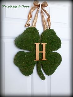 St. Patricks Day Wreath - Monogrammed XL Moss Shamrock - Moss Covered Wood Shamrock with Copper Monogram Letter & Wired Bow.. $64.00, via Etsy.