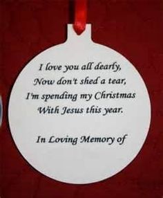 memorial ornament to put on tree to remember your loved ones