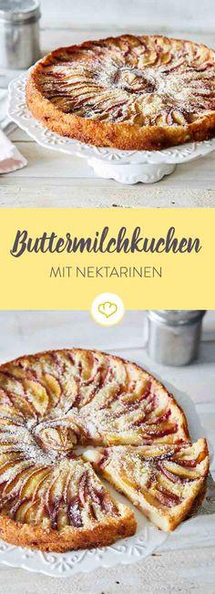 Fruchtig, lecker, süß: Dieser Kuchen versprüht einen Hauch Sommer auf deiner Kaffeetafel. Nektarinen und Buttermilch machen den Kuchen herrlich saftig.