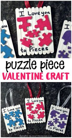 """Puzzle Piece Valentine Craft - """"I love you to pieces"""" gift idea for kids to make! Valentines day craft for kids using popsicle sticks. day Crafts Puzzle Piece Valentine Craft - Crafty Morning day crafts for seniors Valentines Bricolage, Kinder Valentines, Valentine Crafts For Kids, Funny Valentine, Valentines Baking, Valentines Day Gifts For Friends, Valentine's Day Crafts For Kids, Crafts For Seniors, Fathers Day Crafts"""