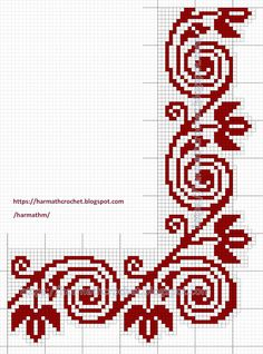 Cross Stitch Borders, Crochet Borders, Cross Stitch Flowers, Cross Stitch Charts, Filet Crochet, Cross Stitch Designs, Cross Stitching, Cross Stitch Patterns, Folk Embroidery