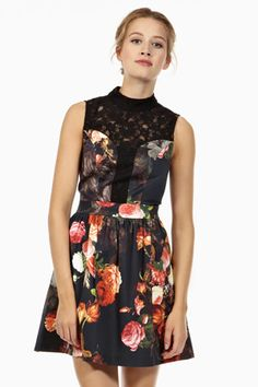 Rococo Lace Dress  Price: £80.00    Only the cut and colorblocking here. Not that floral pattern.