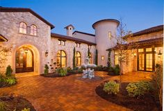 Entry Courtyard of Tuscan style home, Austin, Texas