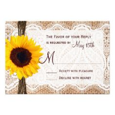 Rustic Burlap Lace Twine Sunflower Wedding RSVP Personalized Invite - This rustic wedding invitation is perfect for any country wedding. It features a rustic printed burlap background with printed lace and a ribbon of twine on the side with a bright yellow sunflower. Perfect for a country or barn wedding. Just add your RSVP date to the card. The burlap, twine, and lace are just printed designs. It is not actual burlap fabric, lace, or twine.