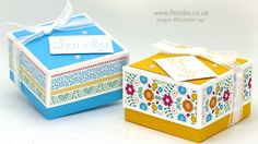 Lidded Box for 3x3 Cards using Stampin' Up! DSP - YouTube