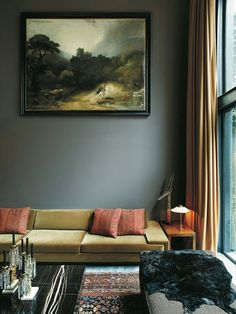 We& getting overly dramatic with this Room of the Week featuring a dark deco feel in a West Village Townhouse. 8 Steps to Color Confidence: Step Learn This Modern Twist on Classic Paint Color Combinations The unusual combination of a low-slung sofa and a My Living Room, Home And Living, Modern Living, Dark Walls Living Room, Tiny Living, Living Area, Room Inspiration, Interior Inspiration, Design Inspiration