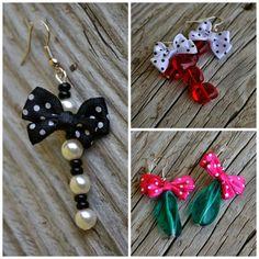 náušnice - puntíkové mašle Brooch, Bows, Drop Earrings, Jewelry, Arches, Jewlery, Bowties, Bijoux, Brooches