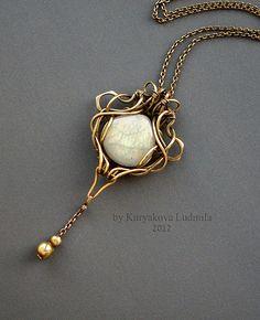GLOWWORM brass wirework pendant necklace with labradorite by KL-WireDream on deviantART