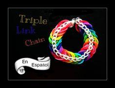 Rainbow Loom en ESPAñOL - Triple Link Chain Bracelet- Pulsera de Gomita DIY