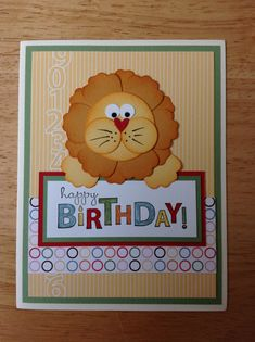 Stampin Up handmade birthday card - cute punch art lion