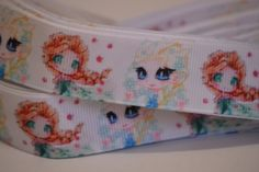 """Anna and Elsa grosgrain ribbon , 5 yards, 7/8"""" wide ribbon, Hair Bow Ribbon, Scrapbook Ribbon, Grosgrain Ribbon by LusterClusterHairbow on Etsy"""