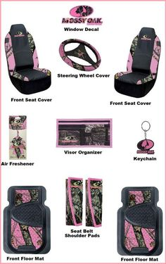 5 Pcs Browning Pink Buckmark Camo Seat Covers Steering Wheel Cover ...