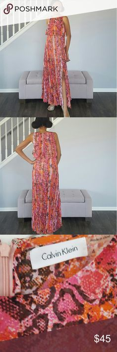Print Evening Dress, pink & orange Catch me if you can! This Calvin Klein evening dress has only been worn once. To my 1 yr wedding  anniversary dinner ??   Dress has a midi length inner lining and becomes sheer from lower thighs down. No signs of wear. Calvin Klein Dresses