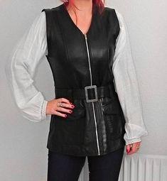 Vintage 70s genuine leather motorcycle long zip up belted vest waistcoat black chunky belt buckle real rocker BIKER moto womens 80s rocker