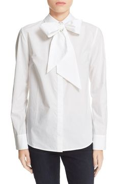 FRAME 'Le Bowtie' Removable Tie Cotton Poplin Blouse available at #Nordstrom