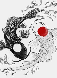 Koi fish ying yang Art Print by Maioriz Home