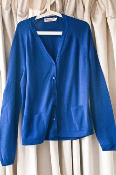 Bright Blue 100% Lambswool Cardigan by by VintageEffectsNo1