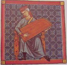 CITARA (cantiga 290) La cítara es un instrumento de cuerdas de forma generalmente trapezoidal que se tañe percutiéndolo con unos mediadores en forma de macillo. Este ejemplar, procedente de la cantiga 290, punteado con los dedos, recibe también el nombre de cedra.