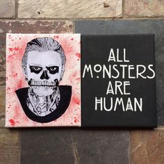 """American Horror Story Tate Canvas Art Quote These are handmade drawing/paintings that I did. This is from the TV show """"American Horror Story."""" I made this with acrylic paint, mod podge, sharpies, and pencils. They are both 8x10. It's a little small, but remember that you get both so it will still fill a lot of space. If you have a small bedroom and not much wall space, then these would be perfect. If you have any other questions, please just leave me a comment.      No Trades! None  Tops"""