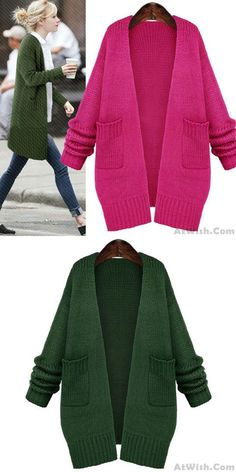Cheap Fresh Green Loose Knitted Cardigan Sweater Coat For Big Sale!Loose Knitted Cardigan Sweater Coat, warm, simple design but stylish, popular to many fashion stars and elegant ladies. Knitted Jackets Women, Winter Jackets Women, Cardigan Sweaters For Women, Cute Sweaters, Winter Sweaters, Sweater Coats, Long Sweaters, Cardigans For Women, Coats For Women