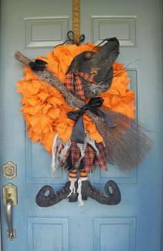 Burlap Halloween Witch Wreath Customize your by RedRobynLane, $110.00