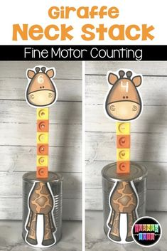 Giraffe Neck Stack incorporates fine motor skills with counting for this zoo themed preschool activity. Preschool Zoo Theme, Preschool Lessons, Preschool Activities, Numbers Preschool, Number Activities, Work Activities, Family Activities, Zoo Animal Activities, Toddler Activities
