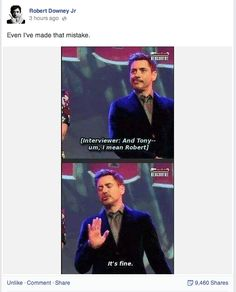 """tonystarktastic:  i-ll-be-mother:  Is Robert Downey Jr's facebook even real?  It is. And I've seen his replies to people and just…he confirmed on Twitter that he runs that fucking facebook and I'm like """"YOU!"""""""