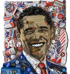Presidential pop-art: The 3-D portrait of Obama is comprised of election paraphernalia, cigarette boxes and items that would commonly be found down the back of an old sofa