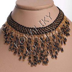Modern ukrainian handmade beads beaded necklace waterfall gerdan black gold or black red Fringe Necklace, Seed Bead Necklace, Seed Bead Jewelry, Bead Jewellery, Beaded Earrings, Beaded Jewelry, Handmade Beads, Handmade Jewelry, Black Gold Jewelry