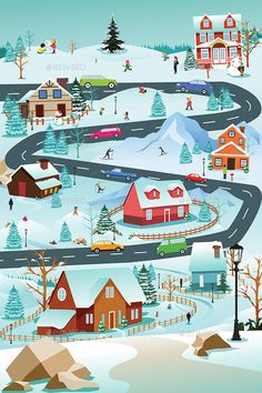 A vector illustration of Winter Village With People Cars and Buildings