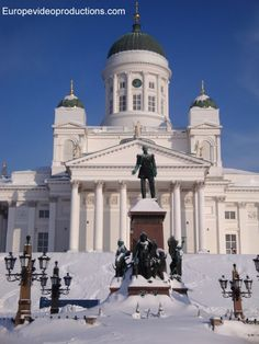 Europevideoproductions travel photo: Catheral of Helsinki in Finland in winter-time - image Finnish winter Lappland, Travel Images, Travel Photos, Visit Helsinki, Finland Travel, Europe, Travel Videos, Baltic Sea, Kirchen