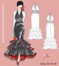 Robe de flamenco negro y rojo