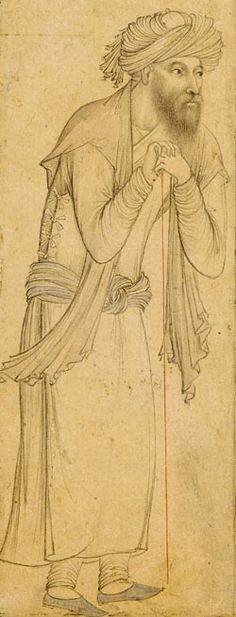Bearded Man Leans on a Staff Iran, Isfahan, ca. 1630–40 Ink and color wash on paper 33.7 x 22.8 cm (13 1/4 x 9 in.) The Arthur M. Sackler Gallery and the Freer Gallery of Art - Smithsonian Institution, Washington DC