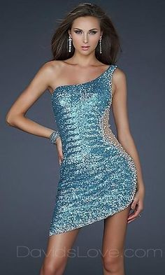 Sheath One-Shoulder Short Lace Prom Dress