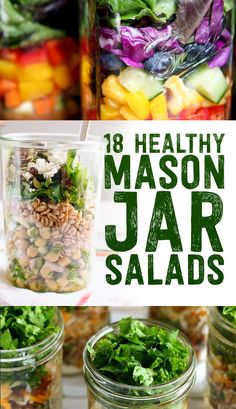 18 Healthy Mason Jar Salads // beautiful, easy and perfect for on-the-go meals and taking to work, prep enough for the whole week #organize