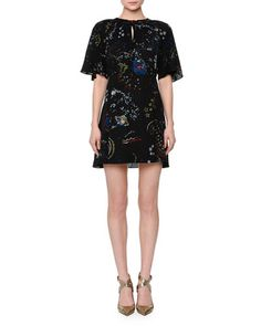 VALENTINO Flutter-Sleeve Astro Crepe Dress, Black/Multi. #valentino #cloth #