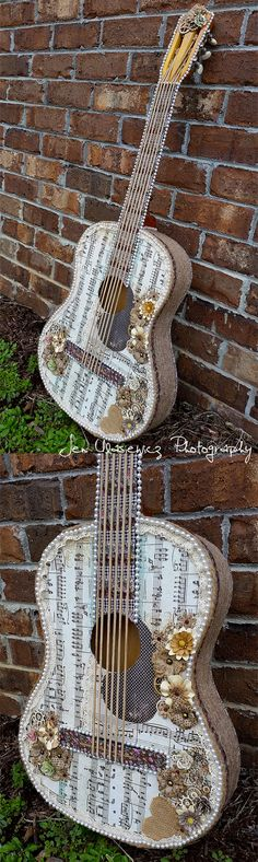 Altered Guitar Mixed Media Art by Jen Ulasiewicz