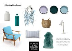 A mood board inspired by the wild waves of Raglan on New Zealand's West coast. Places and Graces. Shopping Places, What Is Christmas, Interior Stylist, Event Styling, Home Staging, Dune, West Coast, Sunsets, Blue And White