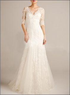 Spitze Brautkleid mit Ärmeln WD660