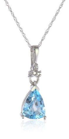 "XPY 10k White Gold Blue Topaz and Diamond Accent Tear Drop Pendant Necklace, 18""."
