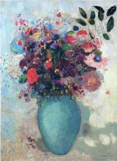 Flowers in a Turquoise Vase by Odilon Redon, ca.1912